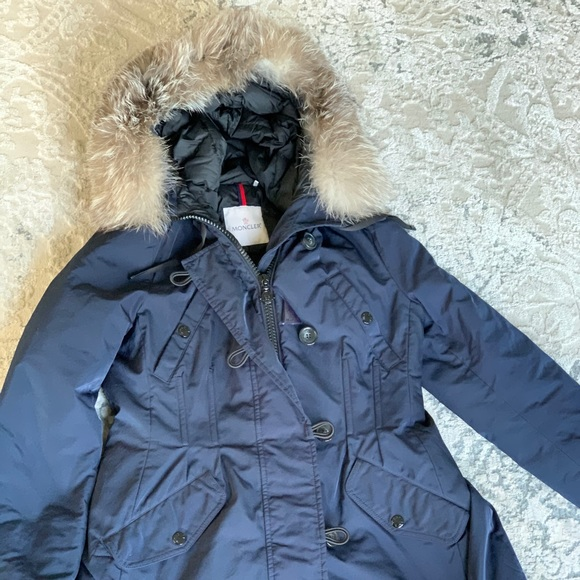 Moncler Jackets & Blazers - Moncler Navy Blue Aredhel Hooded Coat with Fox Fur